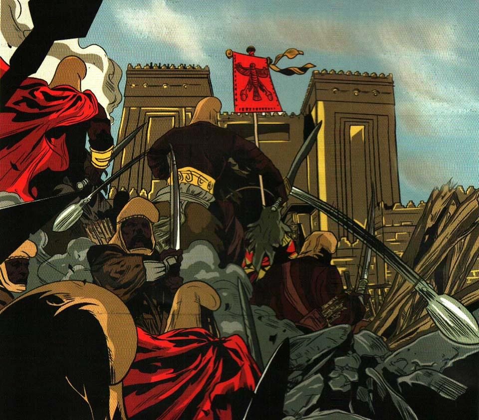 مهمترین هدف مادها، درهم شکستن امپراتوری آشوریان بود؛ به همین دلیل پس فتح قلعه ی اشوریان توسط مادی ها به رهبری هوخشتره را میبینید.