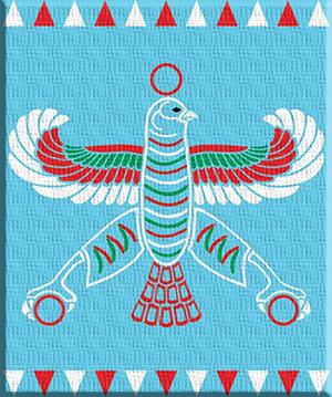 عقاب نوظهور؛  این نقش پرچمی است که کوروش در سپاه خود استفاده میکرد و بعدها به عنوان پرچم هخامنشیان مرسوم شد.
