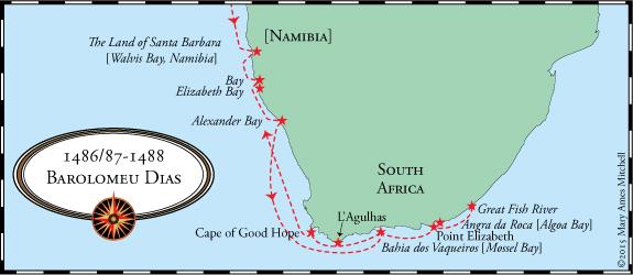 مسیر سفر اکتشافی بارتولئومو دیاز جهت دور زدن آفریقا