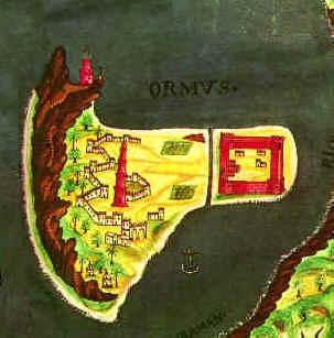 عنوان تصویر نقشه پرتغالی جزیره هرمز در دهانه ورودی خلیج فارس (تنگه هرمز)، سده ۱۷