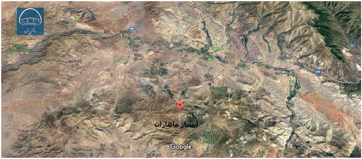 موقعیت جغرافیایی آبشار ماهاران آذربایجان شرقی (جلفا)