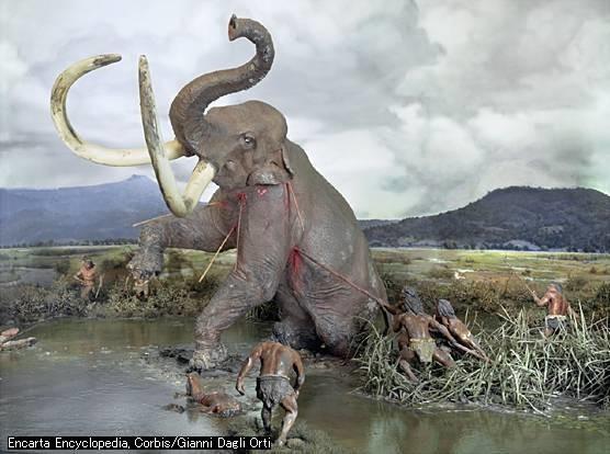 تصویر ۴- تصویر فرضی شکار ماموت توسط مردم عصر پارینه سنگی