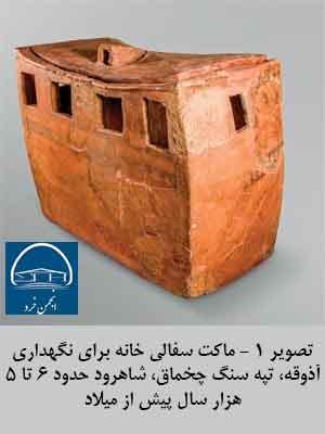 تصویر 1 - ماکت سفالی برای نگهداری آذوقه، تپه سنگ چخماق شاهرود حدود 6 تا 5 هزار سال پیش از میلاد