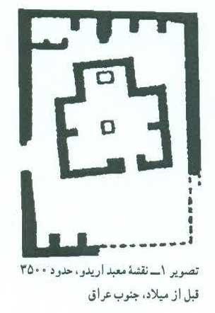 تصویر 1 : نقشه معبد آریدو ، حدود ۳۵۰۰ قبل از میلاد، جنوب عراق