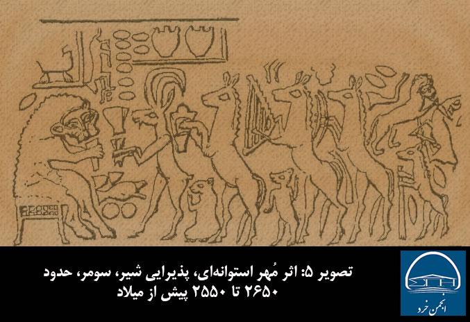 تصویر 5 - اثر مُهر استوانه ای، پذیرایی شیر، سومر، حدود 2650 تا 2550 پیش از میلاد