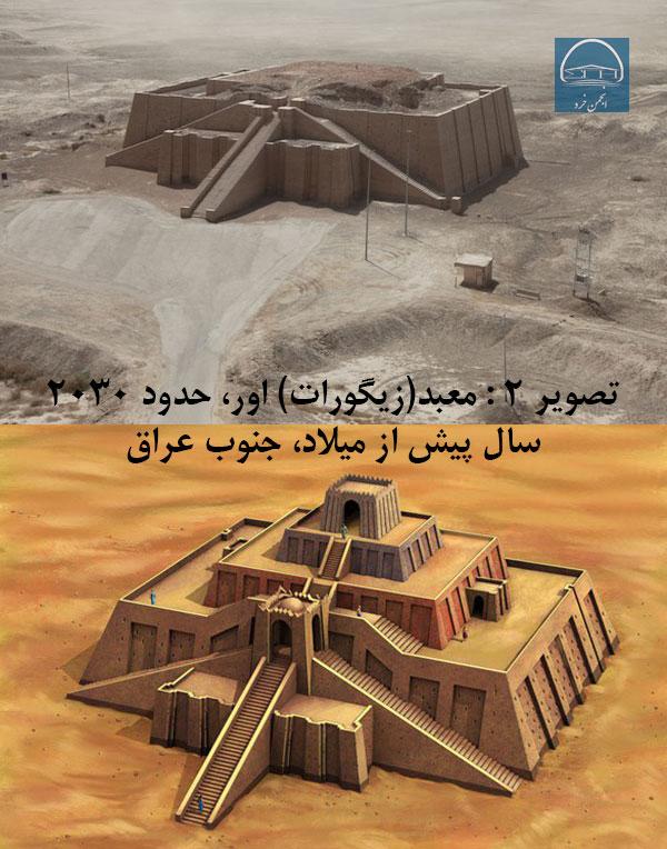 تصویر 2- معبد (زیگورات) اور، حدود 2030 سال پیش از میلاد، جنوب عراق