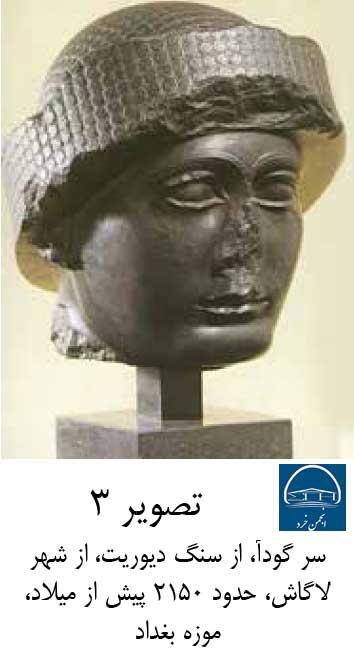 سر گودآ، از سنگ دیوریت، از شهر لاگاش، حدود 2150 پیش از میلاد، موزه بغداد
