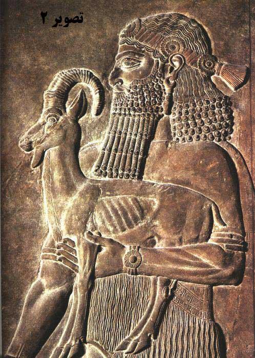 تصوير 2- یکی از هدیه آورندگان، حجاری روی سنگ مرمر، کاخ سارگون دوم، شهر آشور (خورس آباد کنونی) ، حدود ۷۲۰ پیش از میلاد، موزه لوور، پاریس