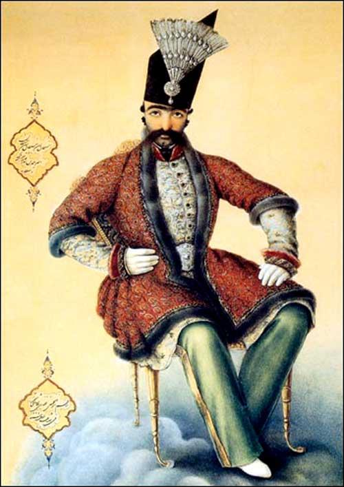 ناصرالدین شاه در جوانی محل نگهداری: موزه لوور پاریس ، بخش اسلامی،آبرنگ روی کاغذ.