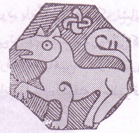 نقش شیر بر بشقاب، ری، سده چهارم