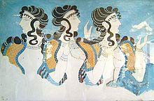 نقاشی فرسکو که سه زن مینوسی را نشان میدهد.