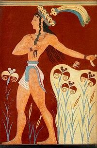 یک نقاشی فرسکو که شاهزادهای مینوسی را نشان میدهد.
