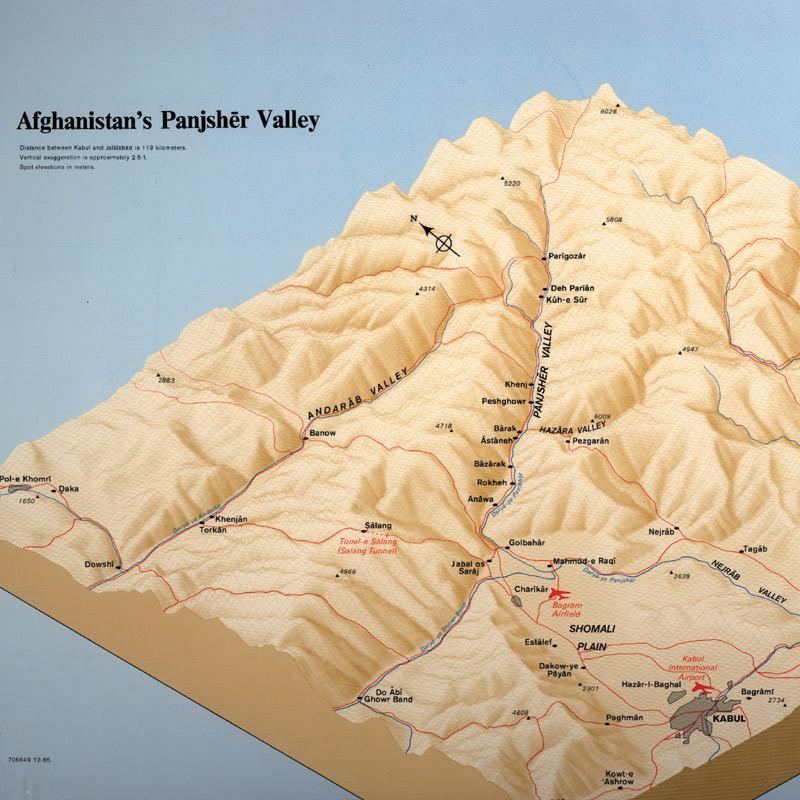 نقشه پستی و بلندیهای دره پنجشیر