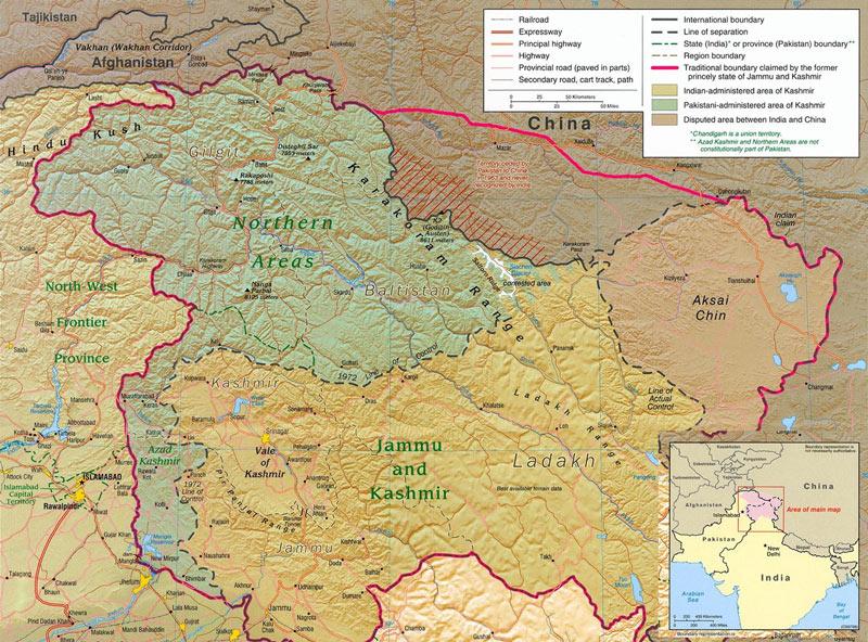 منطقه مورد مناقشه کشمیر بین هندوستان و پاکستان - نقشه مرزهای چین و پاکستان