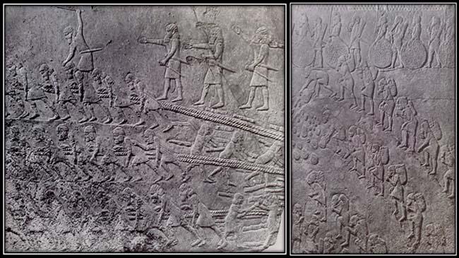 اسرا و بردگان در حال حمل سنگ و خاک (نقش برجسته از کاخ جنوبی سناخریب در نینوا))